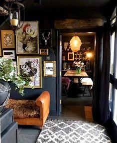 Eclectic, Dark & Glamorous Home Tour - Sally Worts - Eclectic Decor Dark Living Rooms, Home And Living, Living Room Decor, Dark Rooms, Dining Room, Cozy Living, Dining Table, Interior Design Minimalist, Home Interior Design