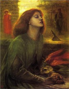 """DANTE GABRIEL ROSSETTI (1828-1882) - """"Beata Beatrix""""...Rossetti was becoming depressed and on the death of his beloved Lizzie, buried the bulk of his unpublished poems with her at Highgate Cemetery, though he later had them dug up. He idealised her image as Beatrice in a number of paintings, such as this one."""