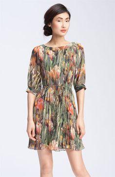 ted baker london pleated tulip print dress. #nordstrom $235.00