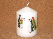 Kerze Stumpe Pinguine weiß