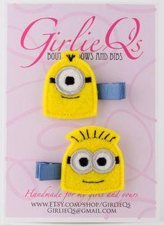 Despicable Me Minions Felt Hair Clip Clippie 2pack by GirlieQs, $6.00
