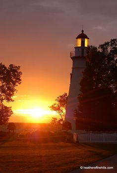 The Marblehead Lighthouse (Ohio) at sunset.