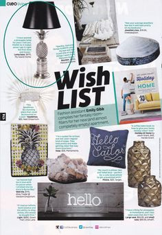 Our gorgeous pineapple plantation lamps in the CLEO September issue... bring a little island hospitality into your home! #lamp #pineapple #interiordesign Lamp: http://www.myislandhome.com.au/item.mibiznez?id=3298
