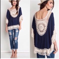 Last Item • Navy Boho Tunic Crochet Detail navy muslin fabric with Ivory crochet Trim nwot size Small best seller Vivacouture Sweaters