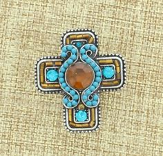 Turquoise And Brown Bead Cross Stretch Ring - Jewelry - Accessories