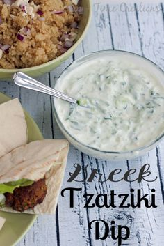 This tasty Greek Tzatziki Dip is super easy to make and is great on so many things -- fresh bread, on falafel, pitas, or on crackers! Greek Tzatziki Recipe, Salsa Tzatziki, Tzatziki Recipes, Greek Recipes, Dip Recipes, Cooking Recipes, Healthy Recipes, Yogurt Recipes, Sauce Recipes