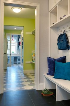 Mudroom open to a separate Laundry Room. Mudroom open to a separate Laundry Room. Laundry Room Layouts, Laundry Room Design, Home Layout Design, Design Ideas, House Design, Foyer Decorating, Decorating Ideas, Metal Building Homes, Built In Bookcase