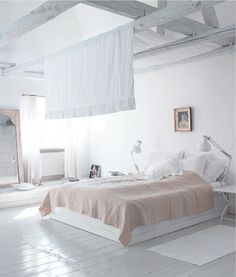 White and light pink bedroom