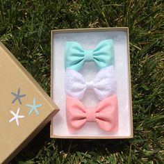 Aqua, pink chambray, and white lace hair bows from seaside sparrow.  Seaside Sparrow bows make the perfect birthday gift. on Etsy, $11.00
