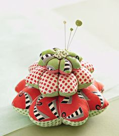 No matter how you use them, these quick pincushions are cute enough to give  individually or as a towering set of three.