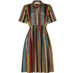 Pre-owned 1950s Peck & Peck Striped Silk Shirt Dress ($370) ❤ liked on Polyvore featuring dresses, vintage, day dresses, below the knee dresses, shirt-dress, vintage day dress, vintage dresses and collar dress
