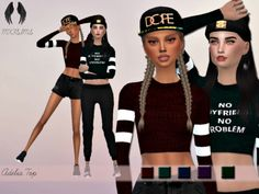 A knitted crop top with striped bands around the arms Found in TSR Category 'Sims 4 Female Everyday' Sims 4 Cas, My Sims, Sims Cc, Sims 4 Black Hair, Sims 4 Clothing, Female Clothing, Sims4 Clothes, Sims 4 Cc Finds, Sims 4 Update