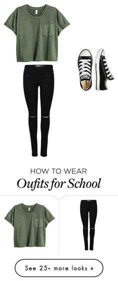 "cool ""School"" by abbympigeon on Polyvore featuring Converse..."