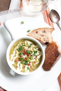 Roasted Potato Leek & Kale Soup with crispy pancetta, crème fraîche ...
