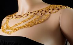 Garnet gold Czech glass beaded shoulder by originalbeading on Etsy