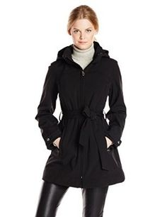 Calvin Klein Women's Belted Softshell Jacket with Hood