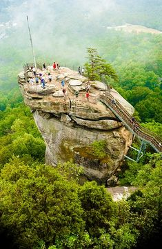 Chimney Rock, North Carolina, where my hubby proposed! Idk who was more nervous, eek heights! Seriously a beautiful place!!!!!
