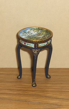 Dollhouse Miniature Hand Painted End Accent Table with Landscape L. Lassige  in Dolls & Bears, Dollhouse Miniatures, Artist Offerings | eBay