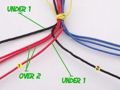 """Matériel: - 8 brins / 8 strands - 2 mains ( si possible les votres) / 2 hands ( if possible yours) 4 brins dans chaque mains..... On va commencer avec le brin de gauche numeroté 1"""".... Avec le brin de gauche n°1, on passe derrière tout les autres de droite..."""