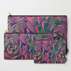 Green & violet succulent Carry-All Pouch by maryberg