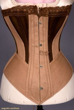 Augusta Auctions: two-tone brown spoon busk corset, 1875-1900