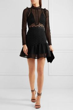 Self-Portrait - Ruffled Organza-trimmed Guipure Lace Mini Dress - Black