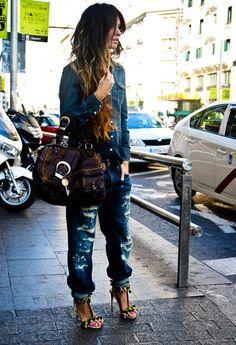 Boyfriend jeans and denim blouse