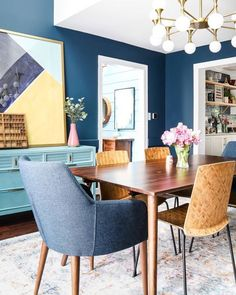 The new mid-century modern furniture for our eclectic, navy blue dining room arrived and it's PERFECT. So we are finally calling it a wrap on our dining room renovation! I'm sharing all the details in this post. Dark Blue Dining Room, Gray Dining Chairs, Dining Room Colors, Walnut Dining Table, Dining Room Walls, Dining Table In Kitchen, Dining Room Design, Dining Room Furniture, Modern Furniture