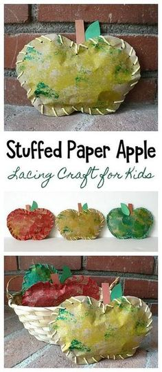 Fall Crafts for Kids: Stuffed Paper Apples- This simple autumn art project for children combines sponge painting and lacing- great fine motor practice and fun for preschoolers and kindergarten! ~ BuggyandBuddy.com