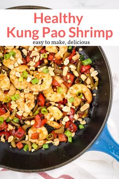 You won't believe how easy and delicious this Chinese Kung Pao Shrimp recipe is! Made in less than 15 minutes with ingredients you have at home, it's better than takeout. This healthy recipe from Slender Kitchen has 4 Weight Watchers Freestyle SmartPoints Ww Recipes, Shrimp Recipes, Asian Recipes, Dinner Recipes, Cooking Recipes, Healthy Recipes, Ethnic Recipes, Paleo Dinner, Fish Recipes