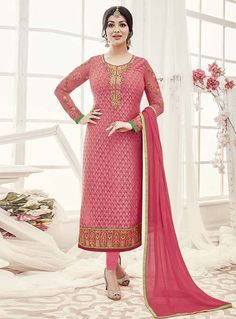 Ayesha Takia Pink Georgette Kameez With Churidar 120996 Bollywood Dress, Bollywood Fashion, Pakistani Suits, Anarkali Suits, Party Wear Dresses, Formal Dresses, Patiyala Dress, Salwar Kameez, Churidar