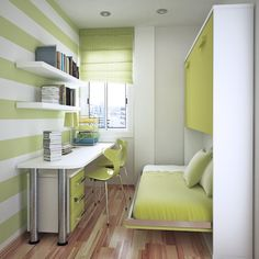 Bedroom, Under Floating Shelves Desk Set In Front Of Murphy Bed With Green Theme Color For Small Space Idea ~ Build Small Space Interior Design Ideas