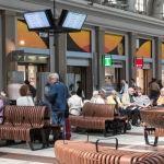 Green Furniture Sweden – Nova C at Stockholm Central Station  #greenfurnituresweden #greenfurniture #JohanBerhin #ecofurniture #sustainabledesign #scandinaviandesign #novac #novacwitharmrest #StockholmCentralStation  #bench