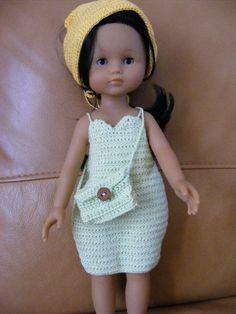 """Robe réalisée au crochet, modèle de base dans le livre """"J'habille ma poupée"""""""