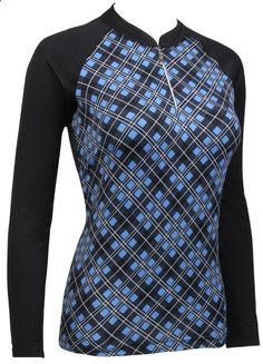 Mystic Pond (Black) Sport Haley Ladies Milly Long Sleeve Golf Polo Shirt available at #lorisgolfshoppe