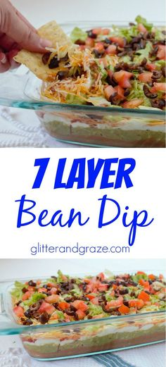 This 7 layer bean dip is the perfect dip for your next football party or any party. The mix of multiple flavors all layered in one combined perfectly for a taste bud treat (Bean Dip Recipes) Party Dip Recipes, Party Snacks, Appetizers For Party, Appetizer Recipes, Taco Party, Party Dips, Party Party, House Party, Dinner Recipes