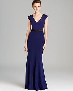 Nicole Miller Lace Inset Back Bow Gown - Cap Sleeve   Bloomingdale's