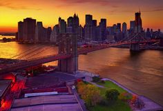 Peter Lik's Brooklyn Bridge with Lower Manhattan in back. Beautiful sunset with natural purple tone that Peter Lik captures so brilliantly. |  #NewYork #NYC #NY