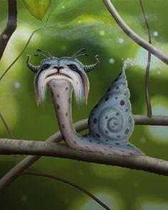 "Matt Dangler - ""The Enchanter Snail,"" Fantasy Landscape, Fantasy Art, Snail Art, Creepy Monster, Paper Mache Sculpture, Mushroom Art, Fantasy Illustration, Comic, Fantasy Creatures"