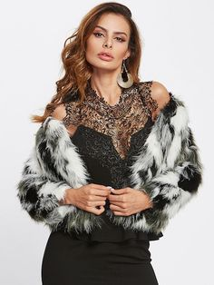 To find out about the Color Block Faux Fur Coat at SHEIN, part of our latest Outerwear ready to shop online today! Trendy Outfits, Fashion Outfits, Womens Fashion, Ootd Fashion, Fuzzy Coat, Collar Styles, Fashion News, Fashion Black, Fashion Fashion