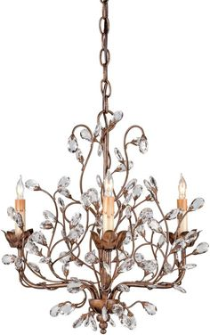 Currey and Company 9883 Crystal Bud Chandelier, Small with Customizable Shades