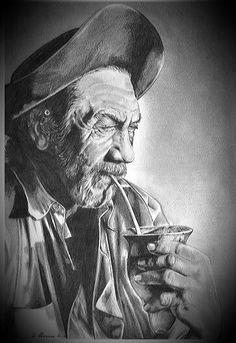 EL GAUCHO CRIOLLO ARGENTINO CON UN CIMARRON EN LA MANO Rio Grande Do Sul, Yerba Mate Tea, Cowboy Pictures, West Art, Argentine, Desenho Tattoo, Top Tattoos, Le Far West, Future Tattoos