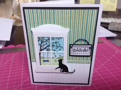 Taylored Expressions stamp and window die. Birthday Card for cat lover