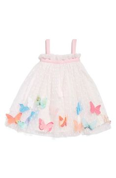 Halabaloo Butterfly Appliqué Swiss Dot Sleeveless Dress (Baby Girls) available at #Nordstrom