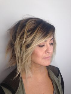 Balayage Specialist San Diego. Andie Jones of Raven and Sage. Blonde Color Specialist. Color Melt. Ombré hair color. Asymmetrical Bob. Wavy Hair