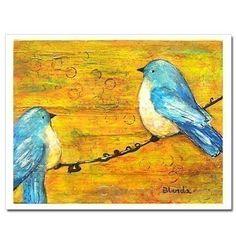 Birds on a Wire Wall Art Print Citrine Kids Wall door blendastudio