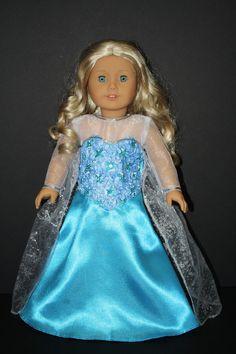 Snowflake Elsa Like Frozen Princess Costume Fits American Girl www.weeline.com $22.50