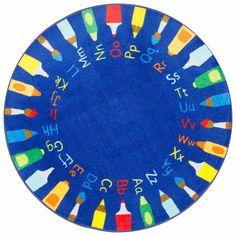nuLOOM Rainbow Alphabet Blue Rug