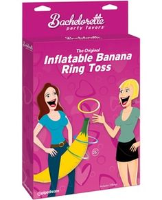"Who wants to hold the big banana? Better yet- can you get a ring on it? Fun game that is sassy and a little naughty- if you choose to take it that way. 27"" banana and 3 rings.... Even more game suggestions come with the box."