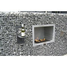 Gabion double sided fireplace BBQ